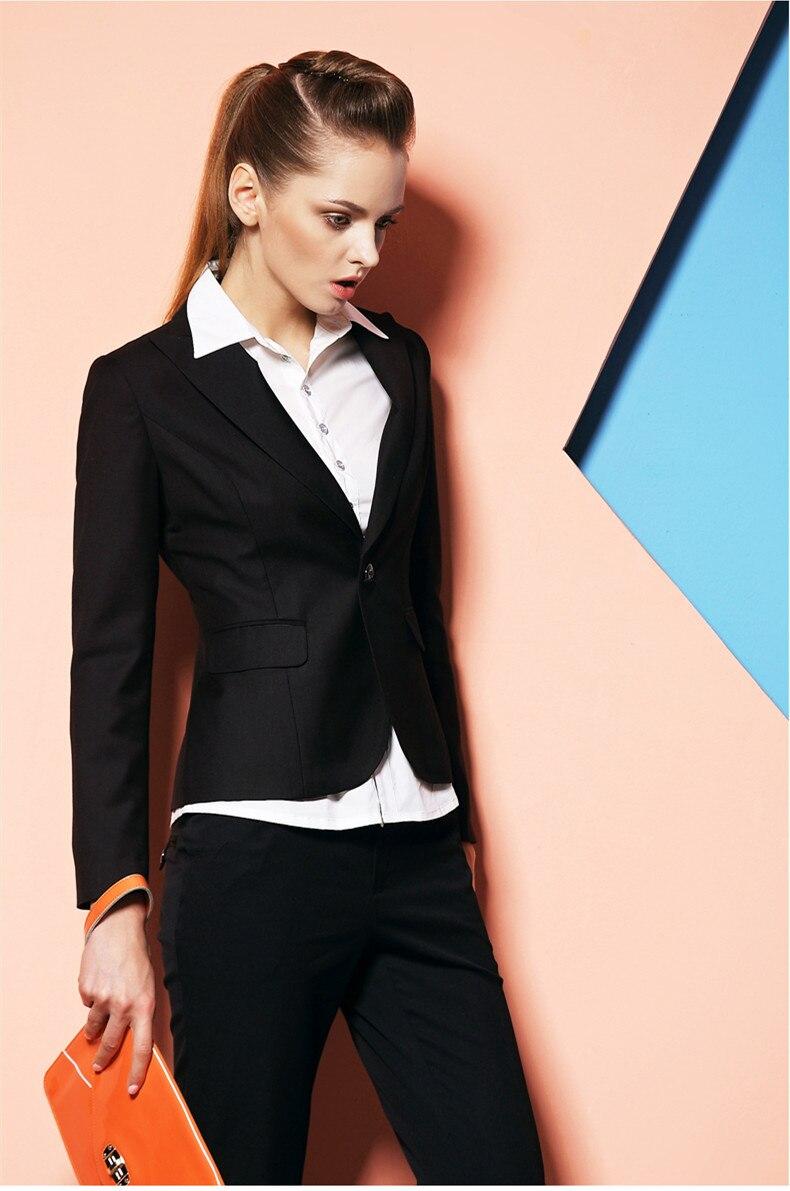 2015 Neue Ankünfte Benutzerdefinierte Luken Schwarz Herbst Formalen Schwarzen Blazer Frauen Anzüge Damen Bürokostüm Arbeit Uniform Mangelware