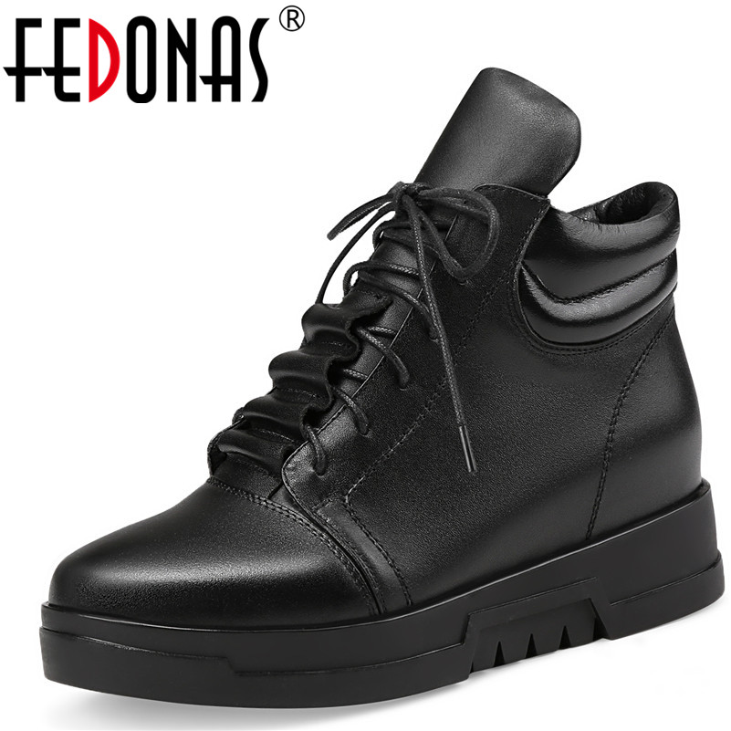 FEDONAS Fashion Women Genuine Leather Suede Ankle Boots Wedges High Heels Lace Up Martin Shoes Woman Autumn Winter Warm Boots 2016 autumn new arrival thick heels ankle martin boots fashion rivets skull genuine leather lace up punk high heels shoes women