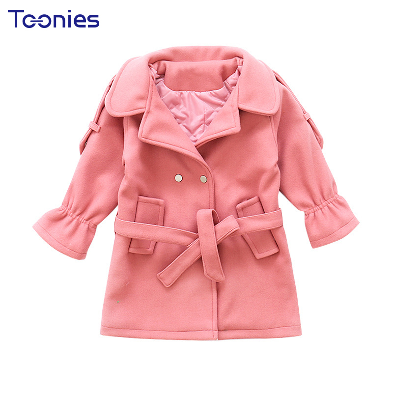 Coat for Girl 2018 New Fashion Girls Jacket Winter Cotton Thickened Princess Coats Solid Color Kids Parkas Children Trench Coat children winter coats jacket baby boys warm outerwear thickening outdoors kids snow proof coat parkas cotton padded clothes