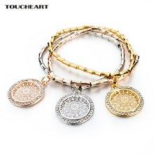 Toucheart этнический ажурный резьба золотая цепочка браслеты