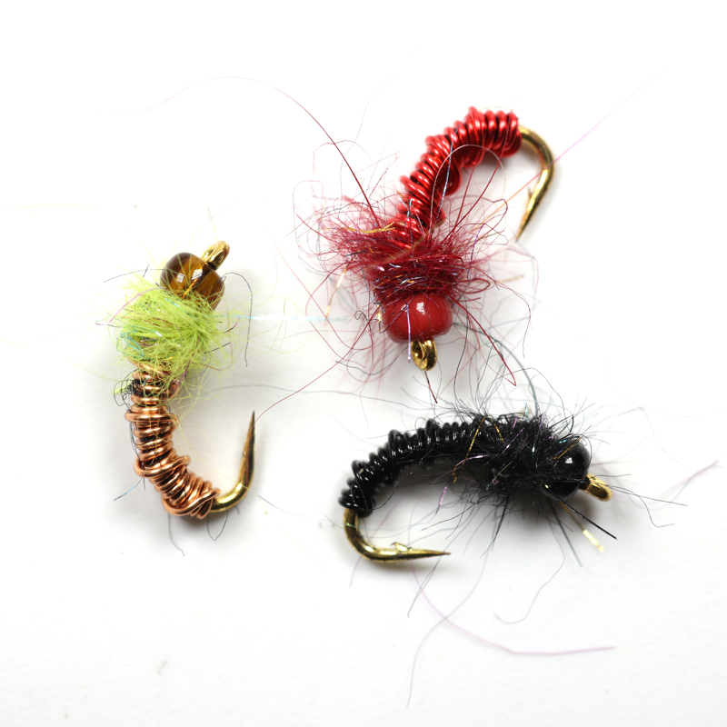 Bimoo 12pcs Deep Brassie Black Red Gold Midges / Chironomids Buzzers Bead Head Nymphs Flies Salmon Trout Fly Fishing Lures