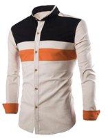 WANSHIYISHE Mens Korean Spell Color Collar Shirt