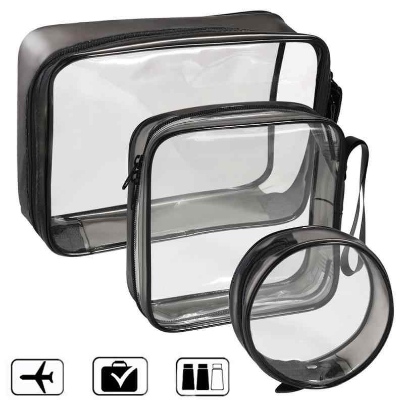 PVC Transparent Cosmetic Bag Women Travel Waterproof Clear Wash Toiletry Bags Makeup Organizer Case Accessories