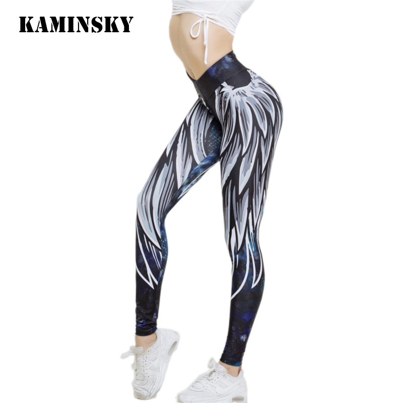 Kaminsky Harajuku Wing Print Leggins Push Up Fitness Sexy Cartoon 3d Graffiti Women Casual Funnysporting Athleisure Leggings