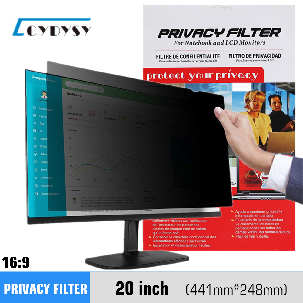 20 tums sekretessfilter Anti-Glare Screen Protector Film för 16: 9 Widescreen Computer 441mm * 248mm