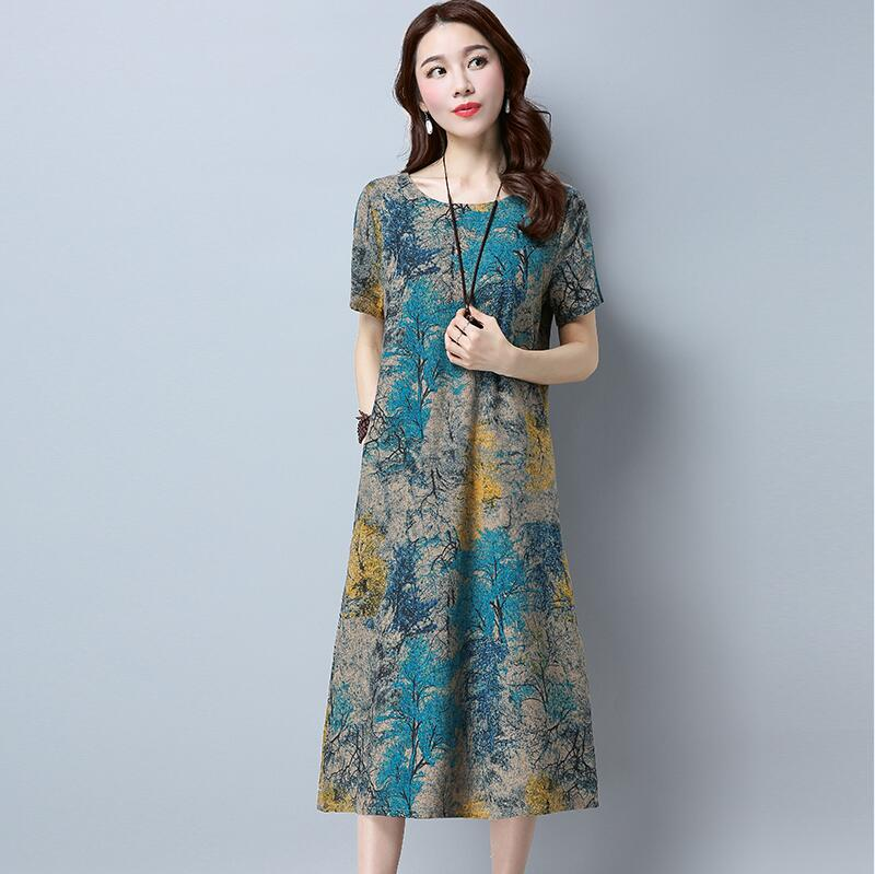 US $10.98 30% OFF|Fashion 2019 New Summer Women dresses Plus Size Casual  Cotton Linen Dress Loose Short Sleeve O Neck Print Vintage Dress Style-in  ...