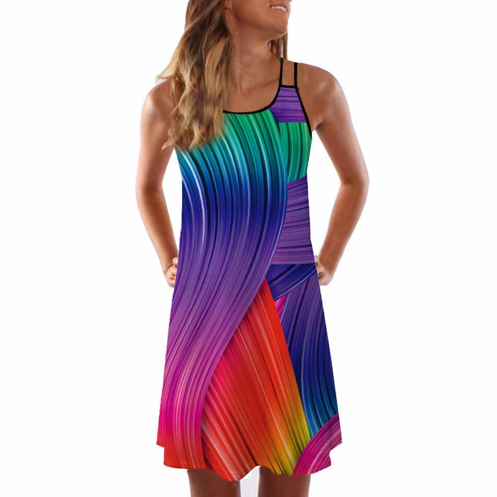 Бесплатная страусиное винтажное платье без рукавов с 3D цветочным принтом летнее короткое платье на бретелях Bohe удобная одежда из хлопка