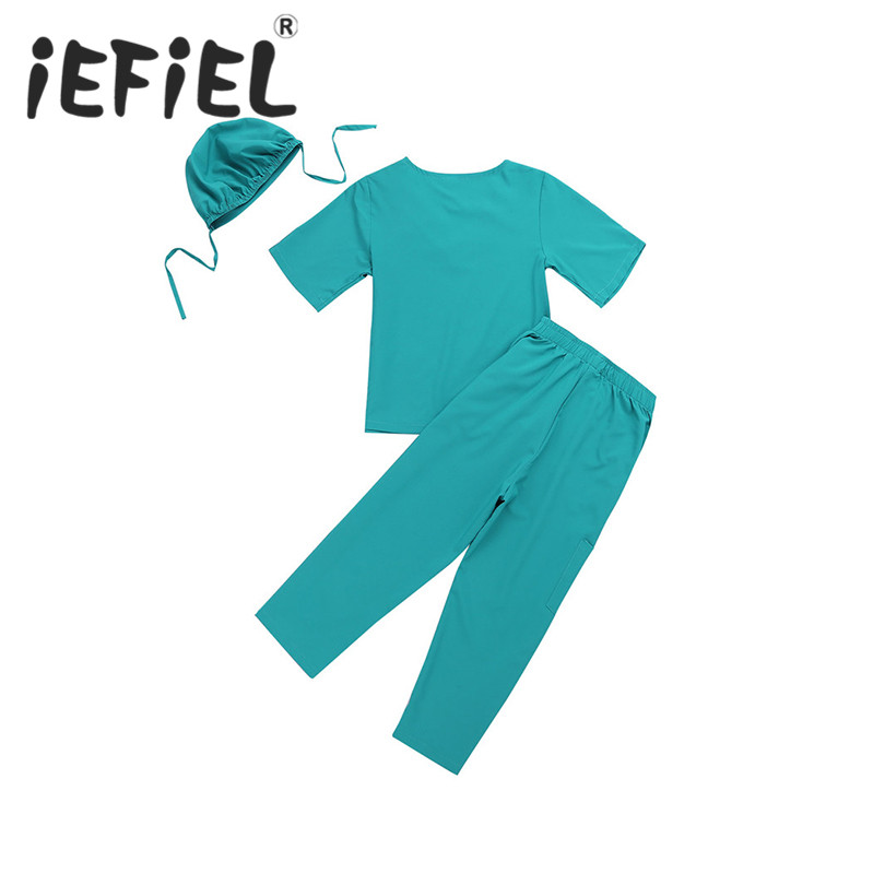 iEFiEL Children Kids Boys Girls Surgeon Outfit Short Sleeves Tops with Pants Cap Set for Halloween Cosplay Party Costume Clothes