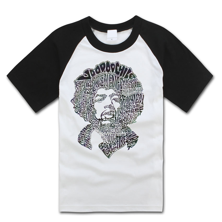 jimi hendrix words collage face simple lines t shirt