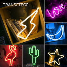 LED Neon Light Signs Christmas Night Light Neon Bulb USB Battery Powered Bedside Table Light Home Decoration Party Birthday Gift