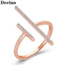 DEELAN Adjustable Lucky Digital Jewelry Rings For Women Fashion Crystal Jewellery