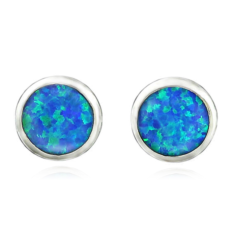 HAIMIS 2017 Hot Sale Fashion Round Cut 7mm Blue Fire Opal Women Jewelry Silver Plated Stud Earrings OE132 Free Gift Box