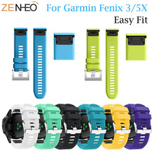 26mm Easy Fit Silicone Watch Strap for Garmin Fenix 5X/Fenix 3/Fenix 3 HR Smart watch Quick Release Wristband watch Bands high quality 10 colors 26mm silicone watch bands soft silicone strap replacement watch band with tools for garmin fenix 3 hr