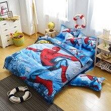 Sistema Del Lecho Del Algodón caliente 4 unids Ropa de Cama Edredón de Impresión de Dibujos Animados de Spiderman Niños Niños Edredón cubierta ropa de Cama