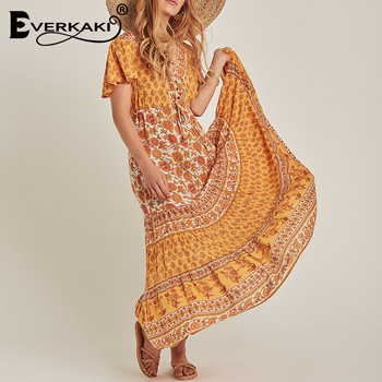 Everkaki Bohemian Gypsy Print Maxi Dress Women Adjustable Waist Buttons Boho Beach Long Dresses Female 2020 Summer New Fashion каркасный батут oxygen fitness standard inside 8ft 244х244 см синий