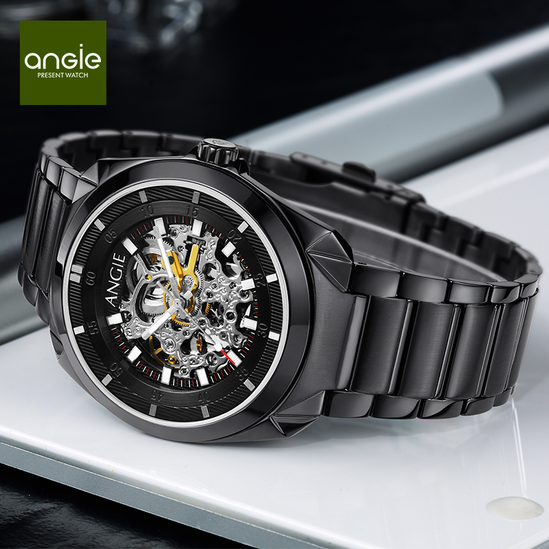 New Brand Black Male Skeleton Mechanical Wristwatches Men Automatic Watch Fashion Luminous Hands Charm Waterproof Watches brand new business watch men hollow engraving black gold case stainless steel watches skeleton mechanical automatic wristwatches