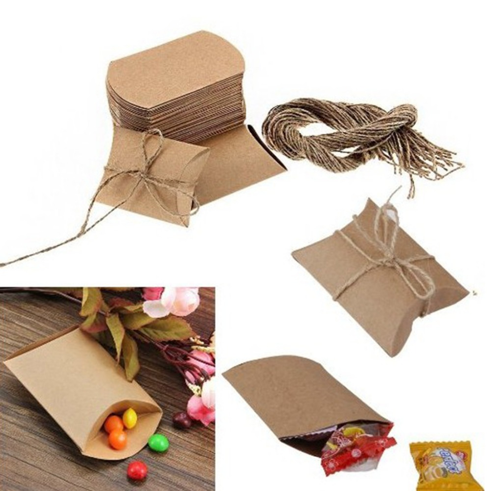 50PCS Kraft Paper Pillow Favor Box Chocolate Sweets Candy Christmas Gifts Wedding Children's Holiday Party Festival Supplies