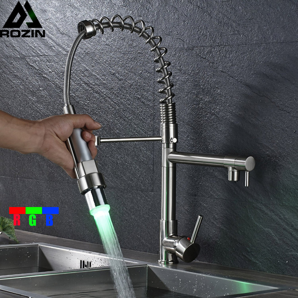 LED Light Pull Down Kitchen Sink Faucet Single Handle Dual Spout Spring Kitchen Mixer Taps Brushed Nickel Swivel Spout cd billie holiday the centennial collection