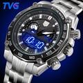 2016 tvg marca relojes hombres deportes reloj de cuarzo analógico de pulsera digital resistente al agua de acero inoxidable para hombre relojes hombre