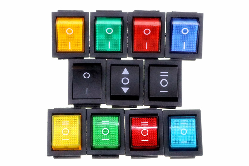 KCD4 On-Off-On 6P / On-Off 4P Latching  Rocker Switch 16A 250VAC colour Light