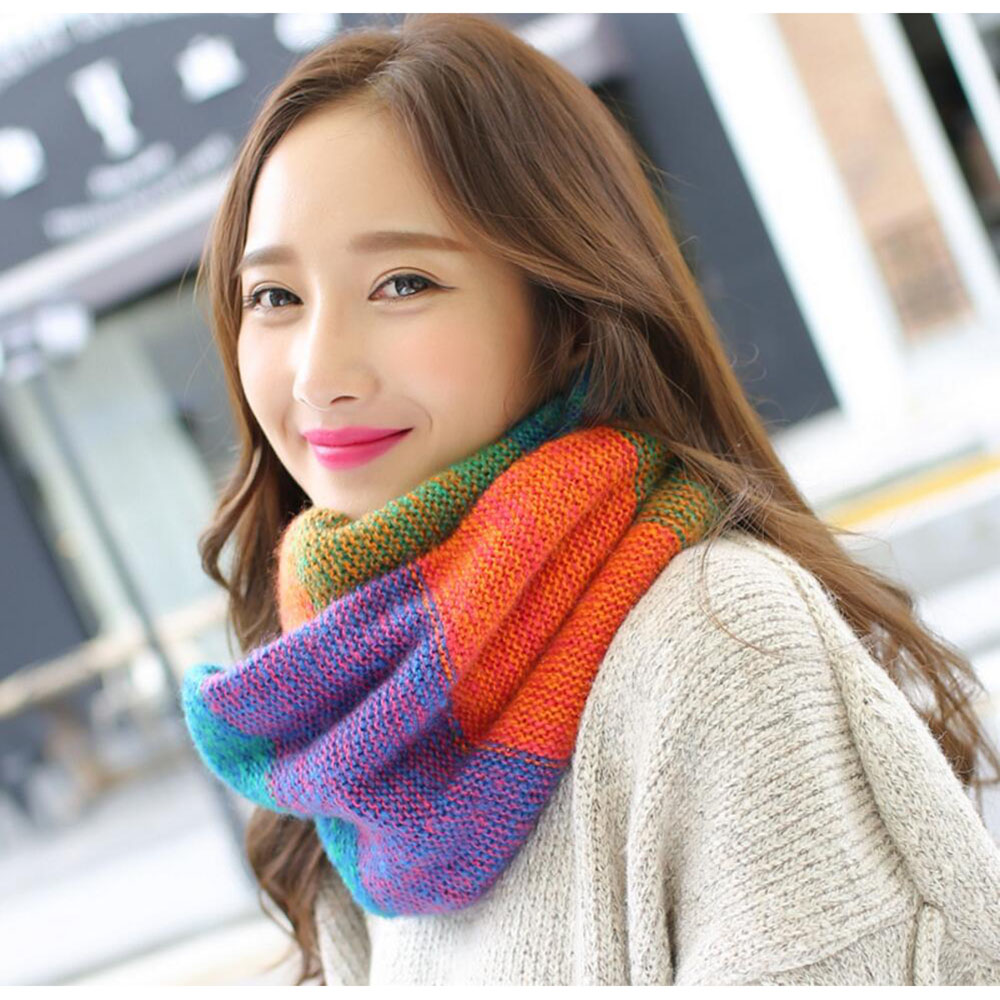Knitted ring scarfs plaid winter womens round scarf stole echarpe new fashion shawls wrap shawls knitting scarfs neck warm in Women 39 s Scarves from Apparel Accessories