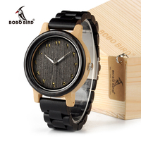BOBO BIRD N14 Unisex Wood And Bamboo Men Analog Quartz Wristwatch Lightweight With Wood Strap Adjustable