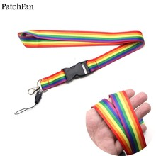 Patchfan Rainbow Key Straps Tags Neck lanyard for Mobile Phone Straps Rope for Samsung for keys glasses card holder Camera A1162(China)