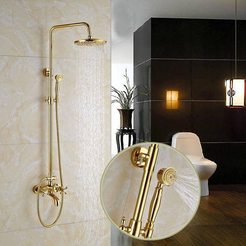 luxus gold finish wand befestigter badezimmer dusche mischbatterien w messing handbrause in. Black Bedroom Furniture Sets. Home Design Ideas