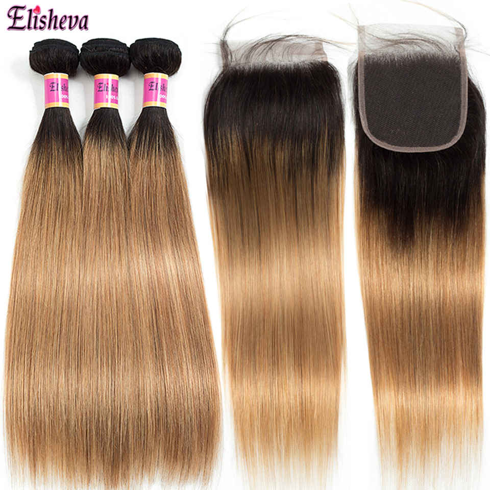 Elisheva Brazilian Straight Ombre Bundles With Closure 1B 27 Remy Human Hair Blonde Colored Bundles With