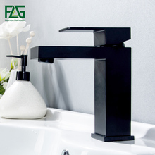 FLG Basin Faucet Single Handle Bathroom Sink Faucet Black Color Deck Mounted Hot And Cold Water Mixer Tap 602-11B black oil rubbed bronze bamboo style bathroom basin faucet single handle single hole deck mounted vessel sink mixer tap wnf024