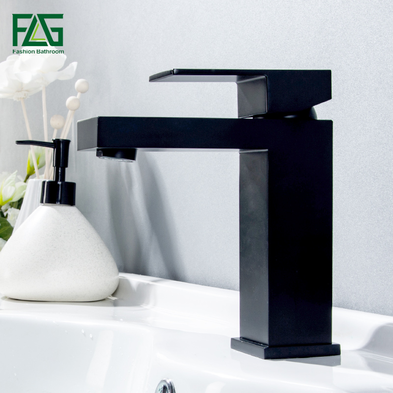 FLG Basin Sink Faucet Single Handle Bathroom Mixer Taps Black Color Deck Mounted Hot And Cold Water Tap Square Shape hpb 2017 innovate upper spray design basin mixer faucet bathroom sink tap hot and cold water square style single handle