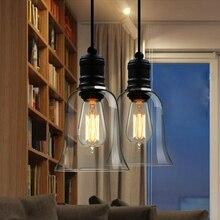 Lámparas colgantes Estilo vintage americano, pantalla de cristal para lámpara, lámpara Industrial para cocina, cristal claro, accesorios de lámpara yc E27 110-240V