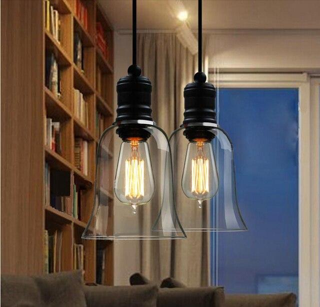 US $66.0 |Amerikanischen vintage stil Pendelleuchten Glas Lampenschirm  Küche Industrielle Penant Licht Kristall Glocke yc Lampe Leuchten E27 110  240 V ...