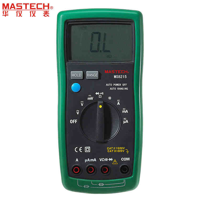 MASTECH MS8215 Auto Range Overload protected Digital Multimeter DMM AC/DC Voltmeter Ammeter Ohm meter Capacitor Tester