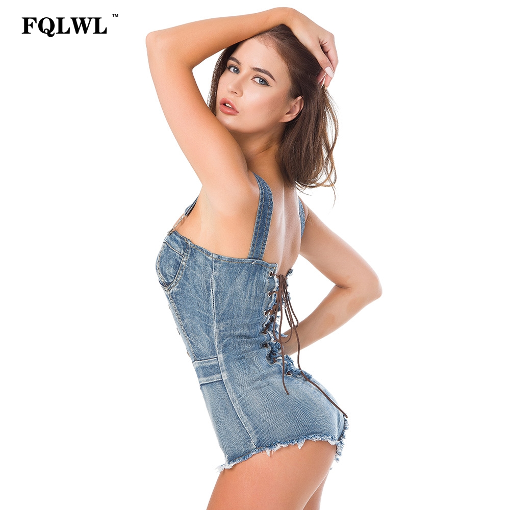 a5a8d43376 FQLWL Summer Bandage High Cut Jeans Denim Women Jumpsuits Rompers Bodycon  Lace up Bodysuit Tight Washed Denim Overalls Female-in Bodysuits from  Women s ...