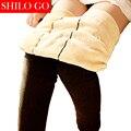 2016 invierno nuevas mujeres de la moda de alta calidad de terciopelo cordero gruesa pisar el pie de la cintura era delgada polainas calientes pantalones