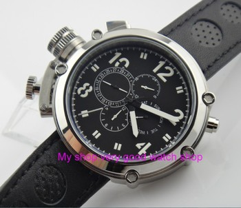 Left-handed model 50mm PARNIS black dial Automatic Self-Wind movement men's watch Multi-function Mechanical watches 201
