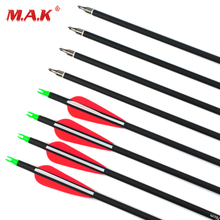 6/12/24 pcs Carbon Arrow Length 30 Inches Spine 500 with Replaceable Arrowhead for Compound/Recurve Bow Archery Hunting