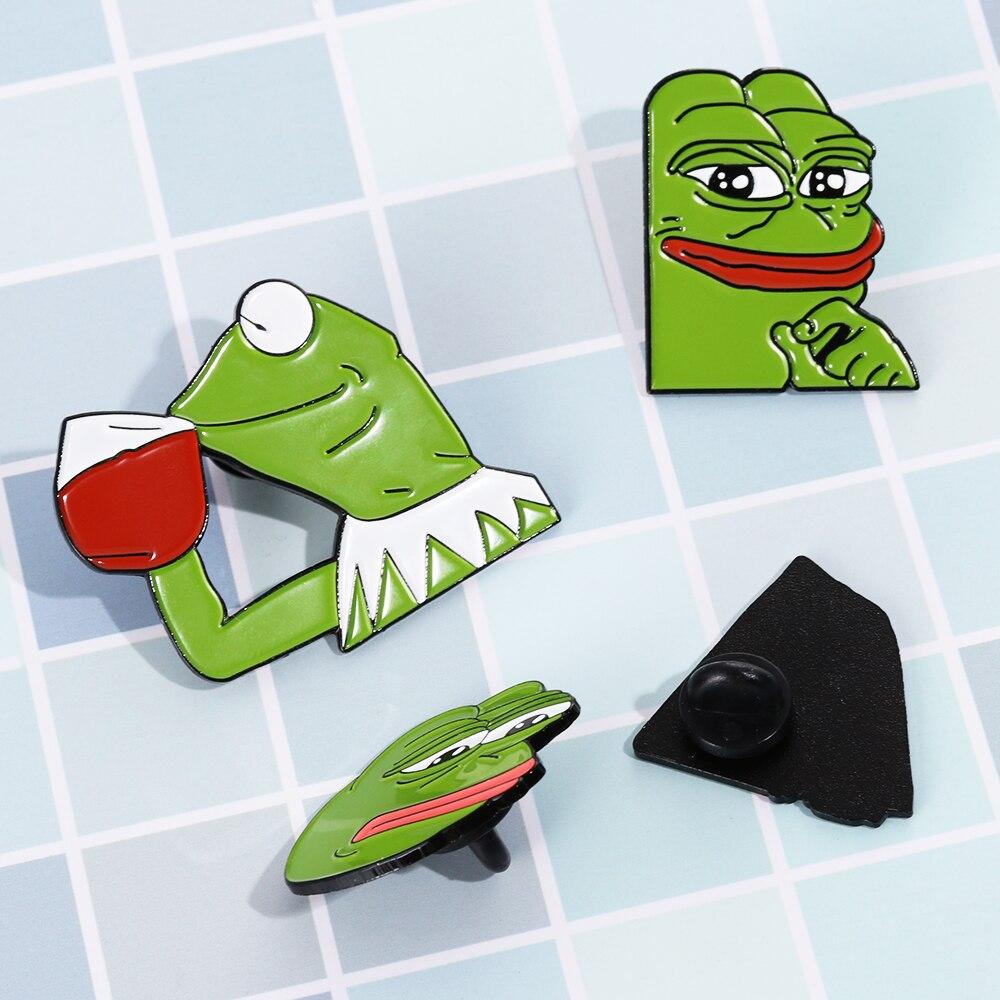 Pepe Sad Frog Enamel Lapel Pin Feels Bad Man Brooch Pin Feels Good Man Badges Pop Funny Pins Jewelry For Clothing Apparel Sewing & Fabric