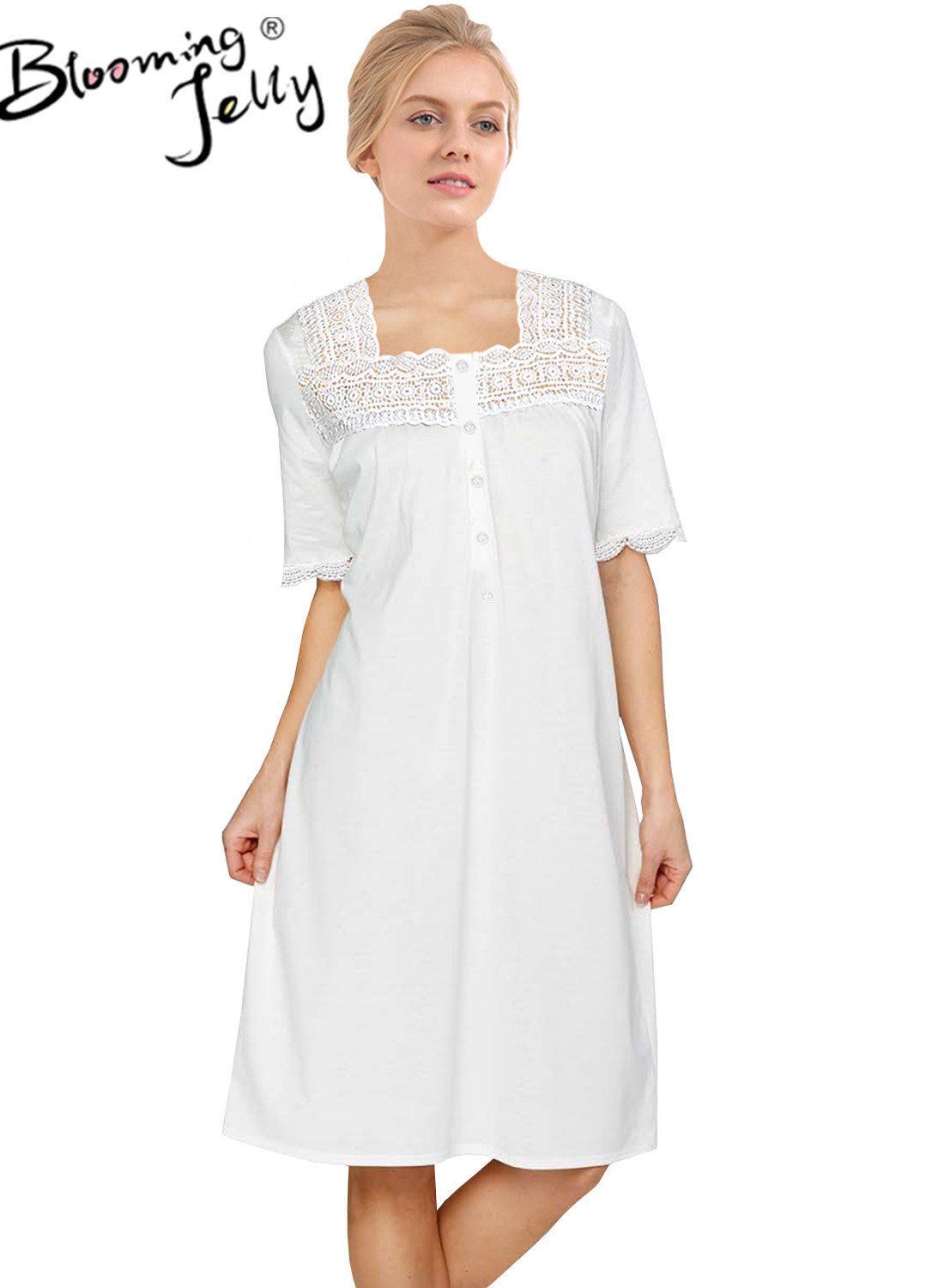 Blooming Jelly New Victorian Style Homewear Women Short Sleeve Square Collar Summer Nightdress Lace Patchwork Princess Sleepwear