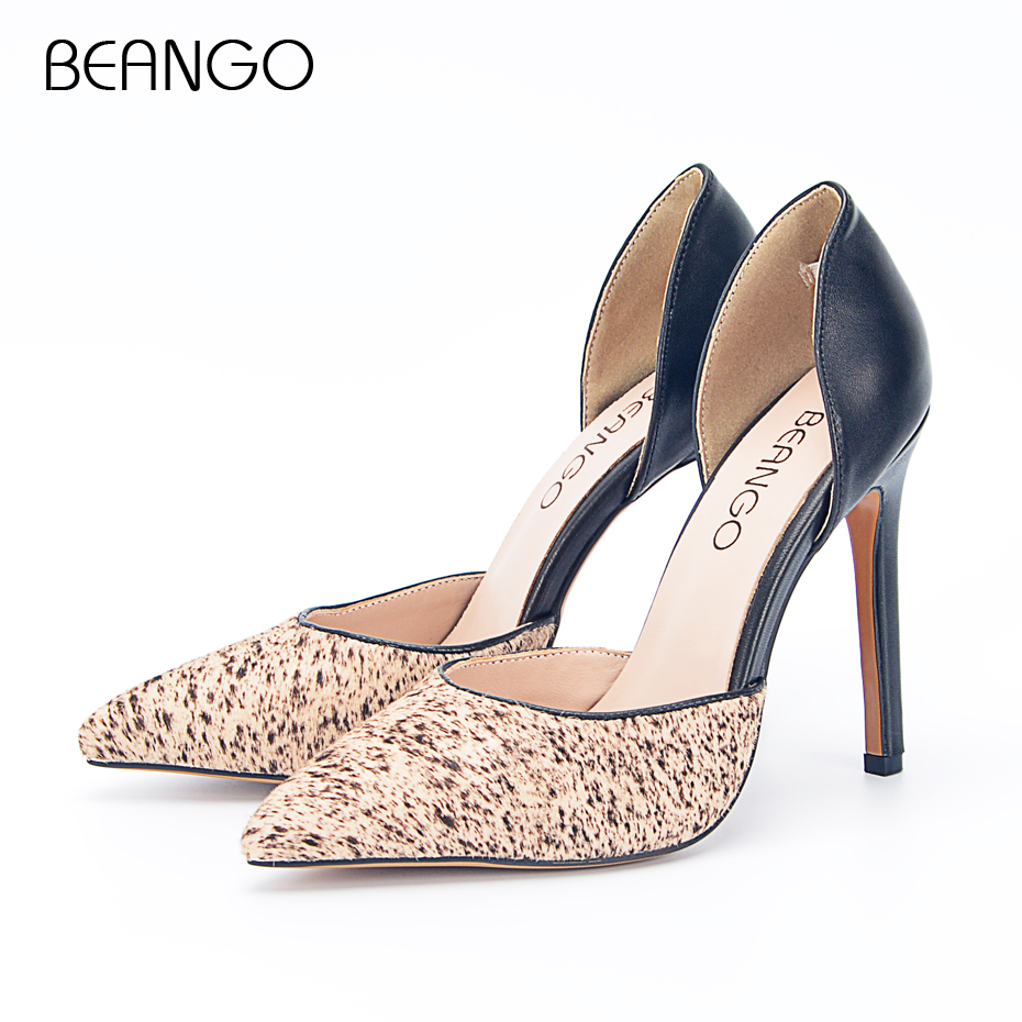 BEANGO Cow Leather With Horsehair Sexy Lady Pumps Thin High Heel Pointed Toe Hollow Women's Party Shoes Big Size 42 doratasia denim eourpean style big size 33 43 pointed toe women shoes sexy thin high heel brand design lady pumps party wedding
