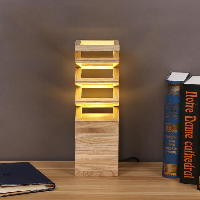 High Quality Wooden Reading Table Lamp Luminaria De Mesa Led Light