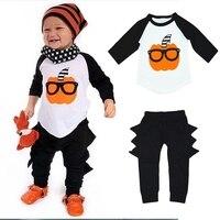 2 Adet Yenidoğan Bebekler Kabak Baskı Giysi Cadılar Bayramı Çocuklar Bebek Bebek Kız Erkek T Gömlek Tops + Dinozor Uzun Pantolon kıyafetleri Suit