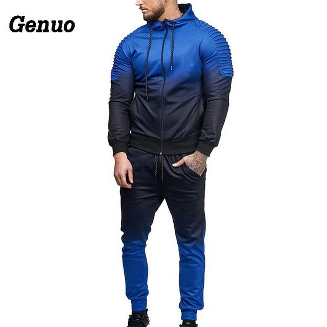 Genuo Two Piece Set Tracksuit Men Outdoor Sportwear Autumn Patchwork Hip Hop Zipper Jacket Hooded Sweatshirt Pants Casual Set