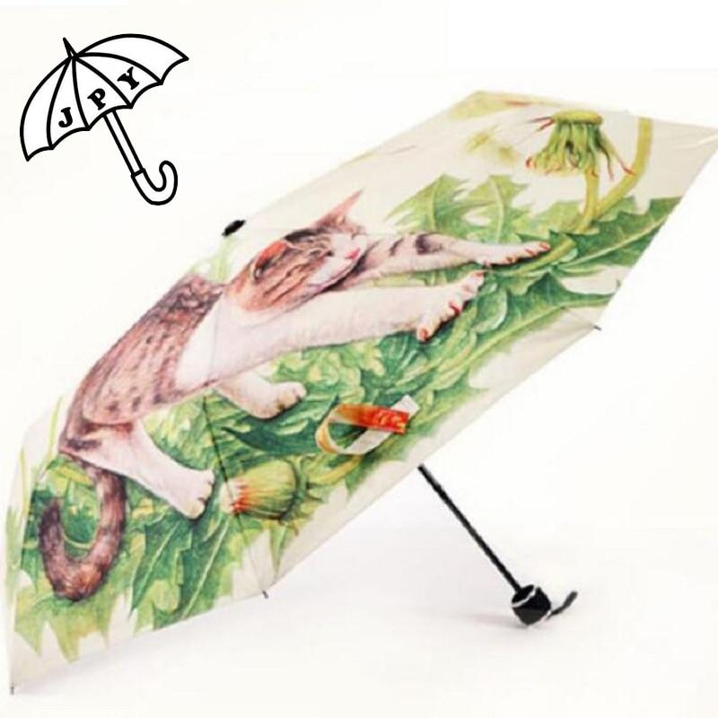 Printemps temps paresseux Animal chat pluie parapluie tournesol fleur Parasol chat famille série femme et homme parapluie étudiants Parasol