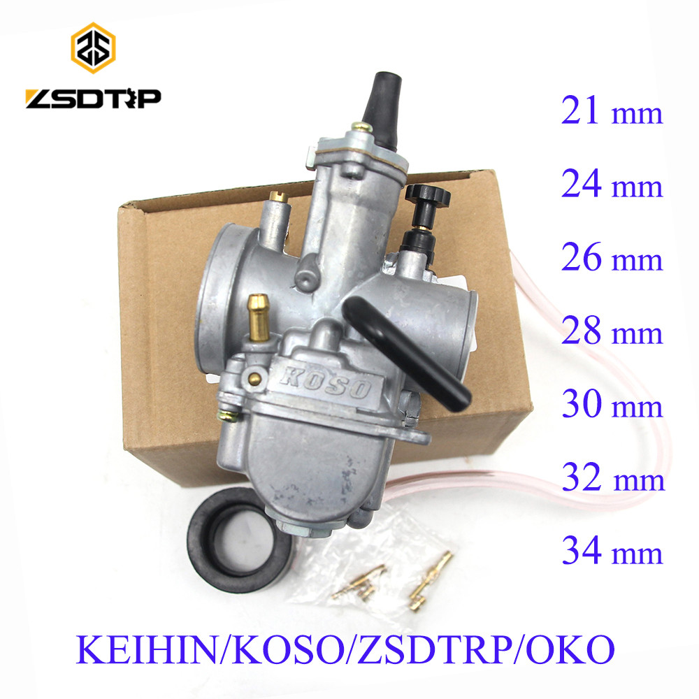 ZSDTRP Universal Keihin Koso OKO Motorcycle Carburetor 21 24 26 28 30 32 34mm With Power Jet Dirt Bike 125cc 250cc Carburador