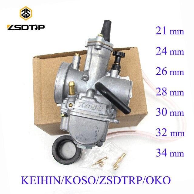 ZSDTRP Универсальный Keihin Koso OKO карбюратор для мотоцикла 21, 24, 26, 28, 30, 32, 34 мм с электроструей, Байк для грязи, 125 куб. См, 250 куб. См