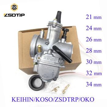ZSDTRP Phổ Keihin Koso OKO Xe Máy Bộ Chế Hòa Khí 21 24 26 28 30 32 34 mét Với Điện Máy Bay Phản Lực Xe Đạp Bụi Bẩn 125cc 250cc Carburador