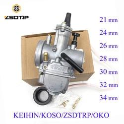 ZSDTRP Universal Keihin OKO Koso Carburador Da Motocicleta 21 24 26 28 30 32 34mm Com Jato De Energia Da Bicicleta Da Sujeira 125cc 250cc Carburador