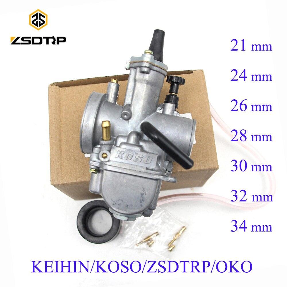 Zsdtrp universal keihin koso oko motocicleta carburador 21 24 26 28 30 32 34mm com jato de potência da bicicleta sujeira 125cc 250cc carburador